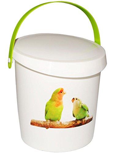 """Futterdose / Futterbox - """" Vögel & Wellensittiche / Papagei """" - für Tierfutter - Kleintierfutter - 2 Liter - Vorratsdose / Aufbewahrungsbox - aus Kunststoff / Dose - Kiste mit Deckel und Tragegriff - Box & Kiste - Haustiere - Tierfutterdose - Trockenfutter / Behälter - Plastikdose - Aufbewahrung - Vogelfutter"""