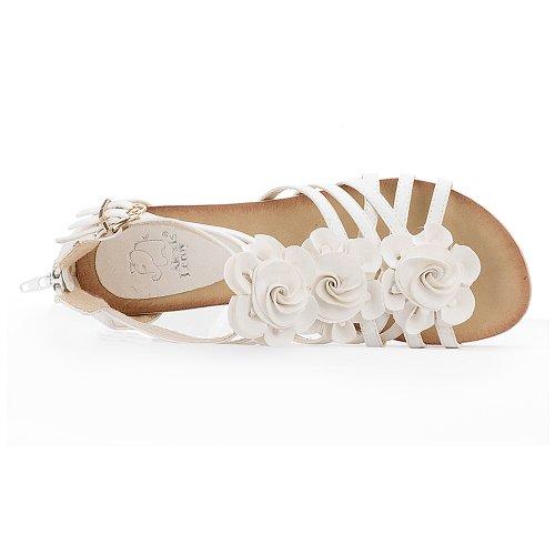 Alexis Leroy Blumen T-Spangen Damen Römersandalen Sandalen mit Keilabsatz Weiß