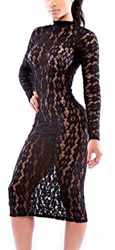 SunIfSnow - Chemise de nuit spécial grossesse - Moulante - Uni - Manches Longues - Femme Noir