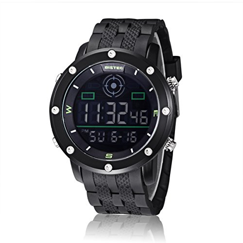 Bistec Digitale Armbanduhr Multifunktions für Military Sport Style Datum Alarm Hintergrundbeleuchtung Stoppuhr 30 Meter Wasserdicht