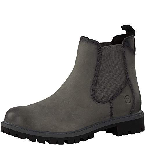 Tamaris Damen Stiefeletten 25401-23, Frauen Chelsea Boots, Freizeit leger Stiefel halbstiefel Stiefelette Bootie flach,Anthracite,40 EU / 6.5 UK