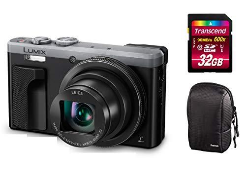 Panasonic Lumix DMC-TZ81-EG-S Silber Digitalkamera Set + Tasche + 32 GB Speicherkarte Travellerzoom Kamera (18,1 Megapixel, Leica Objektiv mit 30x Opt. Zoom, 4K Foto und Video, Sucher) (Silber) Panasonic Digital Super Hybrid