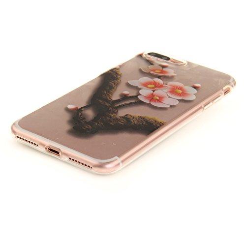 "Coque iPhone 7 Plus, SsHhUu Ultra Mince Anti-Rayures Transparente Bumper Etui Housse Cover Case pour Apple iPhone 7 (4.7"") - Danseuse Rose Plum Blossom"