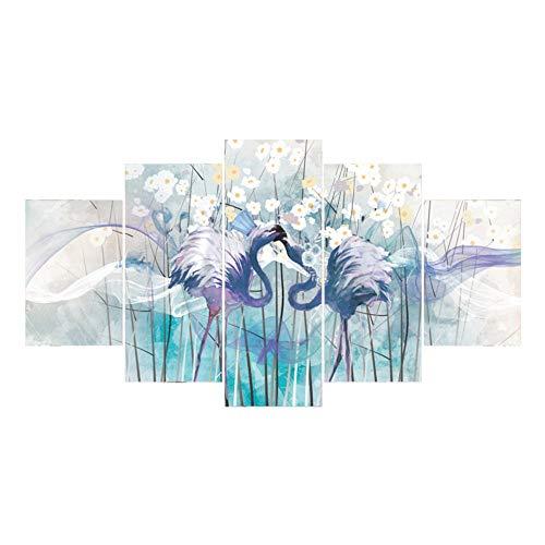 NDFUMC Peinture à l'huile sans Cadre d'autruche Fleurs Salon décoration Cinq...