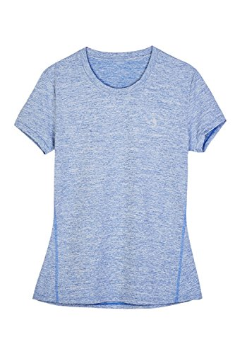 icyZone® Damen Sport T-Shirt Running Fitness Shirts Sportbekleidung Kurzarm Oberteile Shortsleeve Top XS Blue Heather