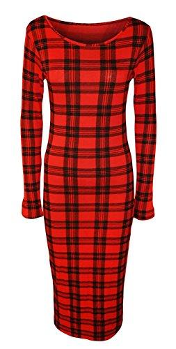 Islander Fashions Womens manches longues imprim robe moulante mi-longue dames Stretchy Fancy Party Dress S / 3XL Red Tartan