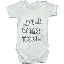 Geordie Genes Newcastle Geordie Baby Vest, Little Worky Ticket, white, 3-6 months