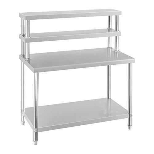 Küchentisch Arbeitstisch Edelstahltisch (120 x 60 cm, inkl. Aufsatzboard, 3 Ablagen und 1 Arbeitsfläche, 140kg...