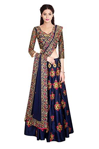 Pramukh Fashion Women\'s Semi-Stitched Lehenga Choli(Pranita Blue)