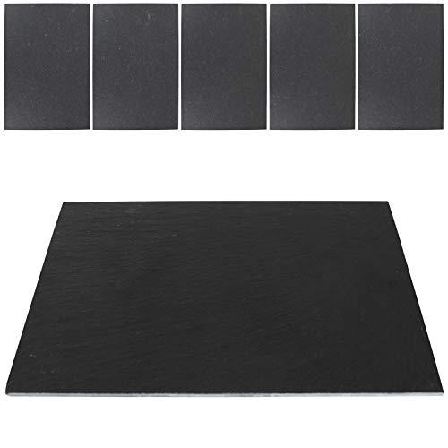 TW24 Alpina Schiefer-Platte 30x20cm 6 Stück Schieferplatten Set Servierplatte Platzset Schiefer rechteckig Naturschieferplatte -