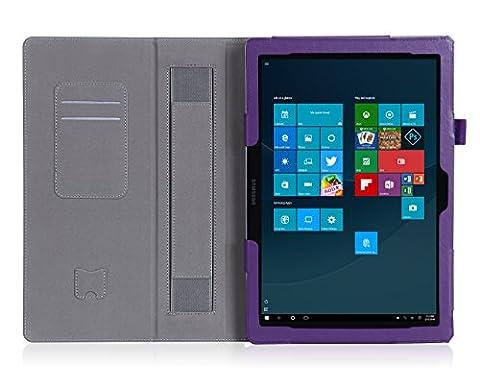 ISIN Housse pour Tablette Série Étui Premium PU avec Support pour Samsung Galaxy TabPro S de 12 pouces SM-W700 W703 W708 Windows 10 2 en 1 Laptop Tablette Avec Sangle Velcro et Slot Cartes (Violet)