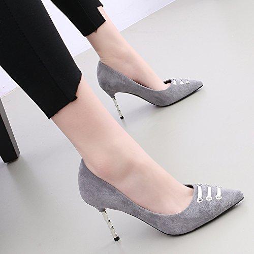Kphy-printemps Polaire Boucle Toe 9 Cm Haut Talon Chaussures Fendues Suivant La Lumière De La Sauvage Singles Grey Chaussures