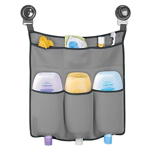 mDesign Kinder Duschkorb zum Hängen – die ideale Duschablage für Kinder-Badespielzeug, Schwämme und sonstiges Duschzubehör – ohne Bohren zu montieren - hellgrau/ Neopren