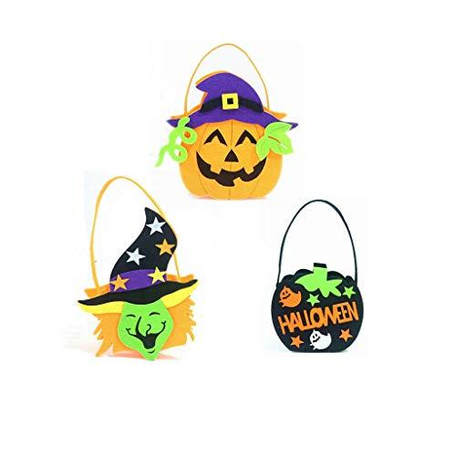 Juni, Halloween-Tote Bag für Kinder, Vliesstoff, Kürbis-Geist, Hexe, -