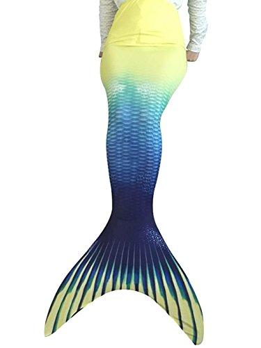 Flyhigh Flyhigh meerjungfrauenflosse für Kinder Badebekleidung mit Schwimmflosse Mermaid (100-110cm, A4212-Gelb)