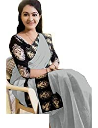 Indian Style Present Women's Grey Colour Chanderi Cotton Kalamkari Design Printed Blouse & Border Saree Sarees...