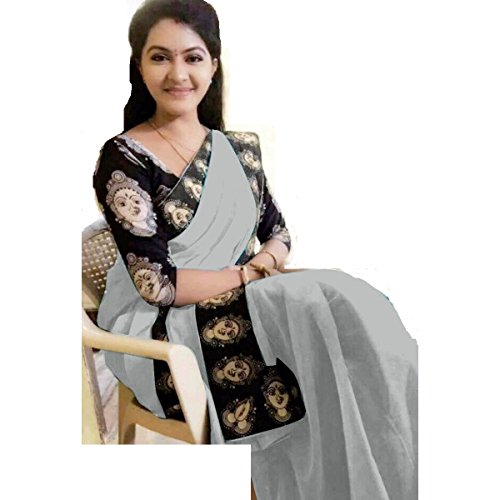 Rajeshwar Fashion Women's Cotton Saree With Blouse Piece (Mataji Border Grey_Grey)