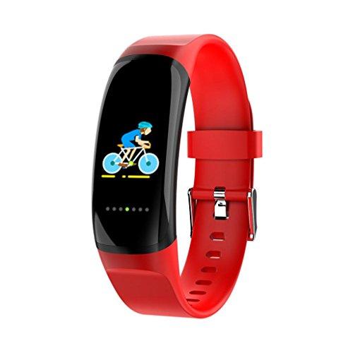 EARS Smart Watch MK04 Sport Gesundheit Überwachung Hinweis Erinnerung Smart Bracelet Heart Rate Blood Pressure Monitor Waterproof Multifunction Pedometer Colour Men Health clock (Rot) (Kurz Computer Ballistic)