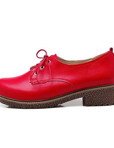 ZQ Scarpe Donna - Stringate - Tempo libero / Ufficio e lavoro / Casual - Chiusa / Cinturino alla caviglia - Quadrato - Finta pelle -Nero / , red-us10.5 / eu42 / uk8.5 / cn43 , red-us10.5 / eu42 / uk8. red-us5.5 / eu36 / uk3.5 / cn35