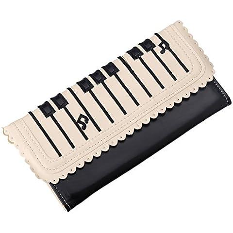 ZXK CO Cartera Mujer,Cartera con Botón de Iman Diseño Piano Corchea Encaje Ranuras para Tarjetas Monedero PU para móvil 5.5 Pulgadas --Negro