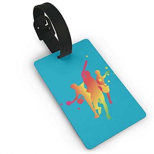 Ewtretr Gepäckanhänger for Travel Luggage Tags with Genuine Hand Strap Table Tennis Team Travel Suitcase Bag Tag Identify Label -