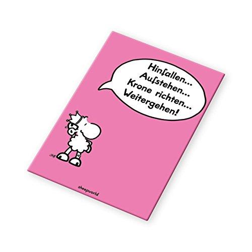 Sheepworld - 44090 - Magnet, Hinfallen... Aufstehen... Krone richten... Weitergehen! 8cm x 4,5cm