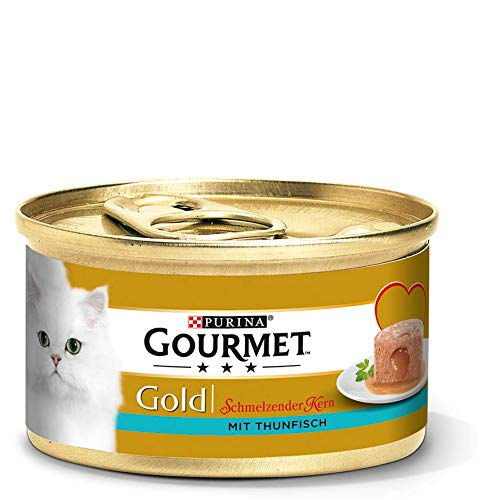 Purina GOURMET Gold Schmelzender Kern: Katzenfutter, Nassfutter für ausgewachsene Katzen, Pastete mit - Ragout Katzenfutter Gourmet