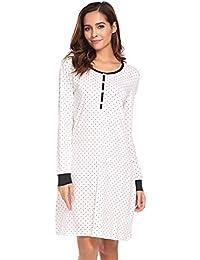 Damen Nachthemd Langarm Sleepshirt Kurz Umstandmode Sleepkleid Weich Knielang Nachtwäsche mit Knopfleiste Dekoration Für Schwangere
