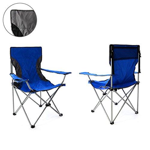 Nexos 2er Set Campingstuhl Faltstuhl blau grau mit Armlehne Getränkehalter Angelstuhl bis 150 kg Tragetasche Polyester Stahlrohr Accessoires-Netz stabil wasserabweisend 90x47x47 cm (Blau)