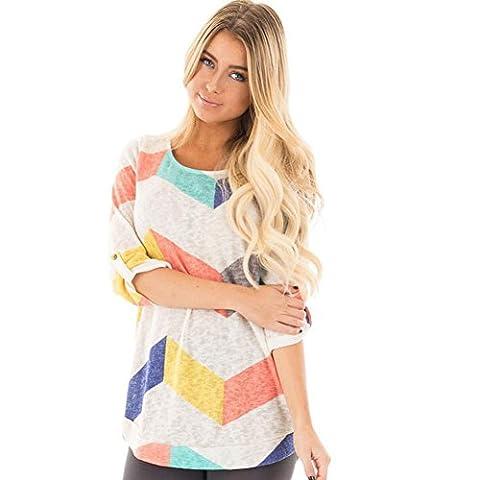 Women's Tops, Toamen Woman Autumn O Neck Roll Sleeve Casual Tops Blouse (XL, Multicolor)