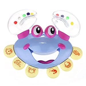 Transer® Toys for Kids- Crab Design Handbell Jingle Percussion- Baby Wooden Instrument Toy Gift