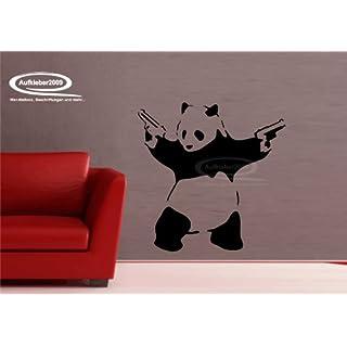 Panda Banksy Art als Wandtattoo I Aufkleber in 27 Farben und versch. Gr. - ca. 95 x 94 cm (bxh) - SCHWARZ