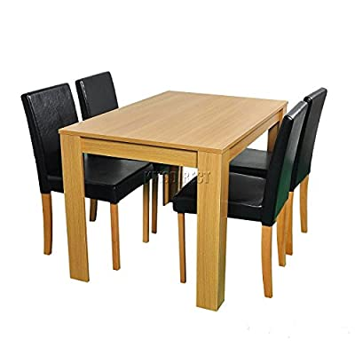 Modern style Dining Table and 4 Faux Leather Chairs Oak effect Furniture Room kitchen Set produced by kosy koala - quick delivery from UK.