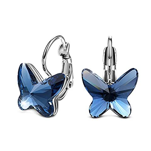 T400 Jewelers White Gold Plated Swarovski Elements Crystal Sapphire Butterfly Shape Hoop Earrings