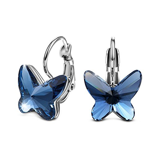 Swarovski Elements Cristal Zafiro Mariposa Forma Hoop Pendientes ,Regalo para las mujeres