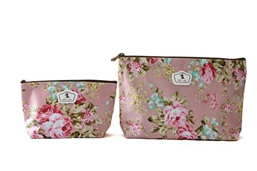 Preisvergleich Produktbild 2 x Federmäppchen oder Schminkbeutel , Hartgewebe, stabil, langlebig und wasserdicht - 2 verschiedenen Größen - Blumenmuster (Pink / Frühling)