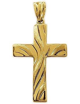 CLEVER SCHMUCK Goldener Anhänger Kreuz 26 mm mit Wellenmuster matt und glänzend 333 Gold 8 Karat im Etui
