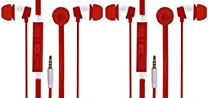 Jiyanshi Combo of Stylish Earphone With Deep Bass Red Compatible With LeEco Le2