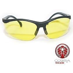 COBRA Tactical Airsoft Gafas de seguridad - Marco negro - Gafas amarillas - Patas ajustables | También es adecuado para disparar, caza, militar, deportes al aire libre