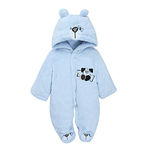Universal Baby Romper Kobay Newborn Newborn Infant Baby Boys Girls Embroidery Cartoon Hooded Romper Warm Clothes For 0-18 Month