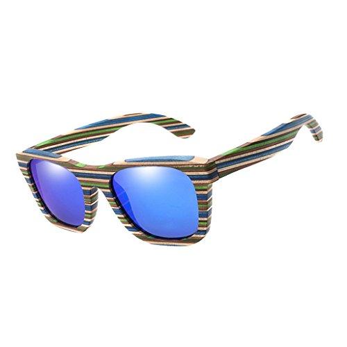 SM SunniMix Vintage Bambus Sonnenbrille Polarisiert Sonnenbrille Bambus Damen Herren Sonnebrille Herren Holz 100% UV400 Schutz Outdoor Brille - Blau