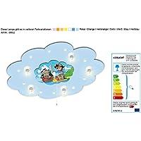 Babyleuchte mit Motiv Piratenszenerie mit Nachtlicht / Farbe: Hellblau (auch in anderen Farben erhältlich) Kinderzimmerlampe Kinderlampe Deckenleuchte Nachtlicht Kinderzimmerlampe mit Nachtlicht