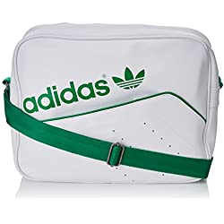 adidas Tasche Perforated Airliner, White/Green, 12 x 38 x 28 cm, 13 Liter, AB2781
