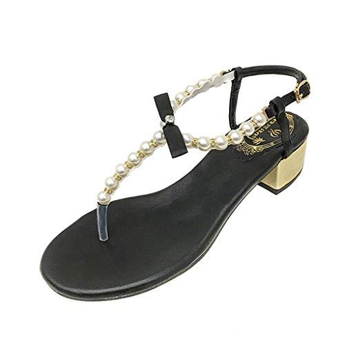 Frauen Sommer Casual Riemchensandalen,Fashion Outdoor Hohl Strand Perle Form Schnalle Sandalen Wedge-Schuhe URIBAKY