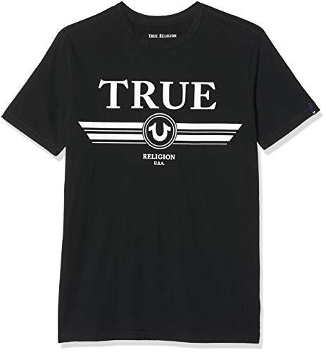True Religion Herren Basic TRUCCI Black T-Shirt, Schwarz 1001, Large (Herstellergröße: L)