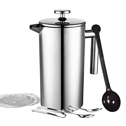 Homitt-French-Coffee-Press-1000ml-34-oz-Double-Wall-Stainless-Steel-Cafetiere-Screens-with-Filters-No-Grounds-Coffee-Tea-Maker-Bonus-with-Coffee-Measuring-Spoon-2-Stainless-Steel-Mixing-Spoon-2-more-A