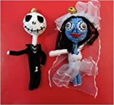 Corpse Bride & Jack Skellington A Nightmare Before Christmas Voodoo String Doll Keychain Lucky Charm Ornament