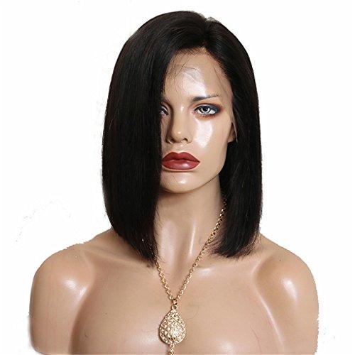 Unbekannt Remi-Haar Perücke Brasilianisches Haar Glatt Seitenteil Kurzer Bob 130% Dichte Kurz Damen Echthaar Perücken Mit Spitze,Black (Echthaar Mit Perücken Teil)