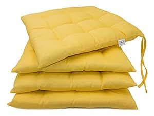 zollner 4er set stuhlkissen sitzkissen f r drinnen und drau en gelb gr e ca. Black Bedroom Furniture Sets. Home Design Ideas