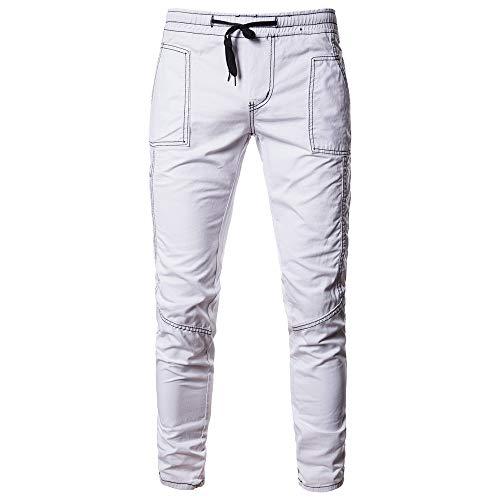 Cebbay Homme Pantalon Mode Casual Solide Confortable Respirant Léger Jeans Lâche Patchwork Poche Pantalon De Jogging Liquidation Pas Cher(Blanc,M)
